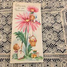 Vintage Greeting Card Birthday Angels Angel Painting Flower