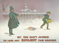 1985 SUNLIGHT SOAP POLICEMAN & NEWSPAPER BOY ADVERTISING POSTCARD - UNUSED