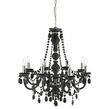 Searchlight 8888-8GY Marie Therese Frosted 8 Light Chandelier With Glass Drops