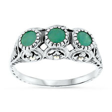 GENUINE EMERALD ANTIQUE DECO STYLE .925 STERLING SILVER FILIGREE RING Sz 9, #46
