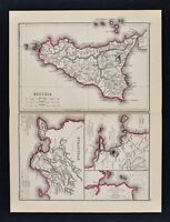 1871 Classical Map Ancient Sicily Sicilla Syracuse Naples Campania Etna Vesuvius