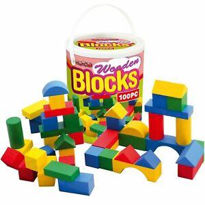 100pc Childrens Wooden Building Blocks Kids Construction Toy Bricks Set With Tub