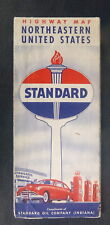 1950 Northeastern United States  road map Standard oil Indiana gas