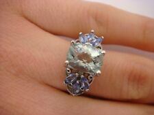 14K WHITE GOLD 1.50 CTT.W. GENUINE AQUAMARINE & 6 MARQUISE TANZANITE LADIES RING