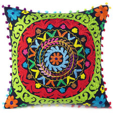 "16"" Black Green Red Embroidered Colorful Decorative Couch Sofa Pillow Cover Case"