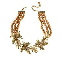 Heidi Daus Autumn Leaves 3 Strand Crystal Accented Necklace