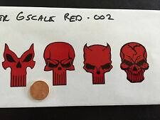 Custom Punisher Decals Red 002 1/6 Scale Die Cut. Free Shipping!