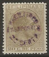 Philippines 1885 PASSPORT Revenue 20c on 20c Bistre Forbin #1 Fine VLH