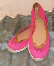 Coach Espadrille Fuchsia Color with Brown Leather Trim Flat Heel Women's Shoe