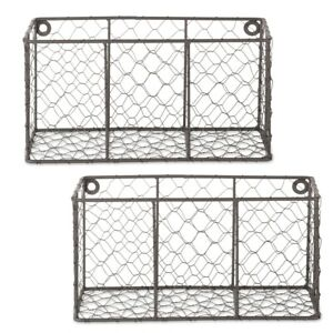 Design Imports Small Vintage Grey Wall Mount Chicken Wire Basket - Set of 2