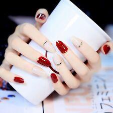 24 Pcs Noble Princess Style Short False Nails Oval Full Design Wine Red & White