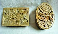 2 Handcarved ROSE Design SOAPSTONE TRINKET BOXES - Oval & Rectangle - India