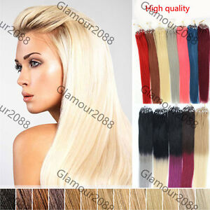 "16"" Thick 1G/S Micro Ring Beads Easy Loop Tip Ombre Remy Human Hair Extensions"