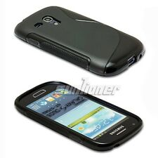 Samsung Galaxy S Duos GT-S7562 Gel TPU Silicone Case Skin Cover+LCD Film . Black