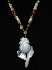 Big Adjustable Beaded Chain Delicately Carved Jadeite Jade Rose Flower Necklace
