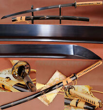 Black Folded Steel Full Tang Blade Handmade Japanese Samurai Katana Sword Sharp