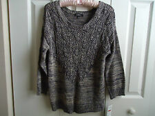 Sweater  Women New Sz L Elementz (Macys) Alli Black /Gray Decorative