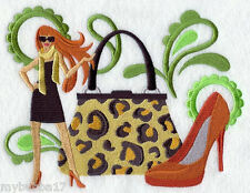 Leopard Fashionista Set Of 2 Bath Hand Towels Embroidered By Laura