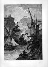 Stampa antica NAPOLI veduta del porto con barche e velieri 1877 Old print