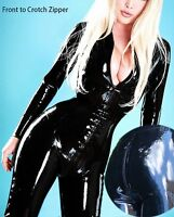 SEXY WETLOOK CATSUIT GANZANZUG OVERALL SHINY LACK STYLE LONG SLEEVED BLACK