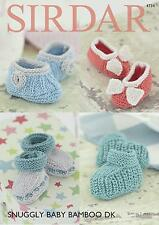 Bootees & Shoes in Sirdar Snuggly Baby Bamboo Yarn Knitting Pattern 4734