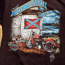 "Vtg 1985 3D EMBLEM HARLEY DAVIDSON T-SHIRT ""The South is Where its at"" Sturgis"