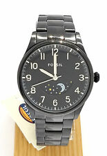 Fossil Men The Agent Day Night Dial BLACK Stainless Steel Black dial FS4849 NEW