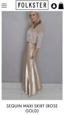 Folkster Rose Gold Sequins Maxi Skirt UK M (10-12) Excellent condition.