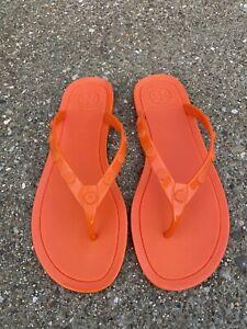 TORY BURCH Studded Logo Jelly Thong Sandal Flip Flop Size 8 Orange