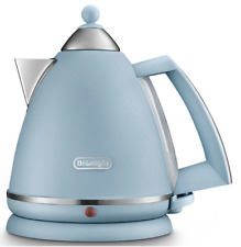 Delonghi Argento Flora 1.7L Cordless Designer Kettle - Retro - Blue - Brand New