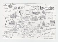 Mint Map Postcard of Hampshire by Crossroads Postcards