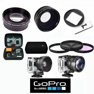 X43 WIDE ANGLE + 2.2X TELE  ZOOM LENS + 3 FILTERS + HARD CASE FOR GOPRO HERO4 3
