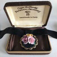 Vintage Capo Di Monte Porcelain Roses Necklace Velvet Choker Presentation Box