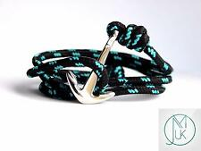 Stainless Steel Silver Anchor Bracelet Turquoise Paracord Wrap Around Adjustable