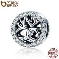 BAMOER S925 Sterling silver charm Winter Tree with AAA Zircon For Women bracelet