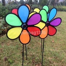 High Quality Rainbow Wind Spinner Ground Stake Outdoor Yard Garden Decoration US