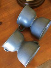 Dansk Blue Mesa Stoneware Set 4 Coffee Tea Cups Mugs Japan Mid Century VTG
