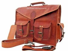Vintage Leather Big Tote Mens Briefcase 15'' Laptop Case Messenger Shoulder Bag