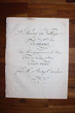 ✒ ca.1810 Partition gravée Betsy OUVRARD Jean François de LA HARPE Amour village