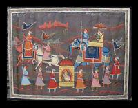 Parete Pittura Su Seta Arte Mughal Elefante India 90x66cm D2 1599