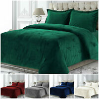 Crushed Velvet Bedding Set Duvet Quilt Cover Double King Size With Pillow Case
