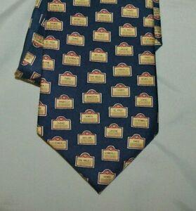 "Paris Texas Apparel Co Men's Blue 100% Silk Tie ""Texas Towns""  Print 3.5×56"""