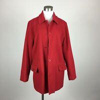 Harve Benard Size 14 Short Coat Red 4 Button Patch Pocket Lined Wool Blend