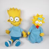 """Vintage Simpsons 7""""-8"""" Plush Dolls Hard Rubber Heads Maggie And Bart 1990"""