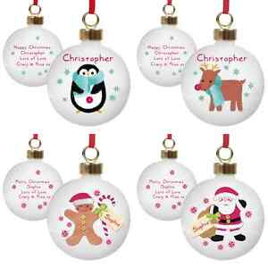 PERSONALISED KIDS BABY'S MY FIRST 1ST CHRISTMAS TREE BAUBLES PRESENT GIFT IDEA