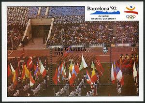 Gambie 1032 S/S, Mi Bl.101, MNH Été Olympiques, Barcelona. Parade De Flags, 1990