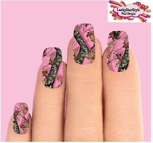 Waterslide Full Nail Decals Set of 10 -  Pink Mossy Oak Realtree Camo Camouflage