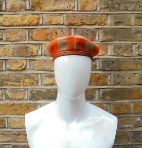 Giorgio Armani Junior Boy's Kid's Children's Orange & Beige Check Beret Hat