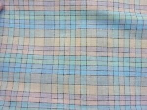 """Vintage? Blue Pink Tan Plaid light weight Cotton Fabric Material 46"""" x 64"""" AA"""