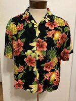 Hilo Hattie Hawaiian Shirt Floral Pineapples medium B101 READ DESCRIPTION
